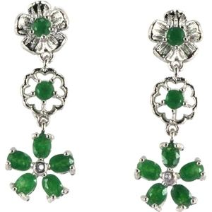 Natural Green Emerald and White Topaz  Dangle 925